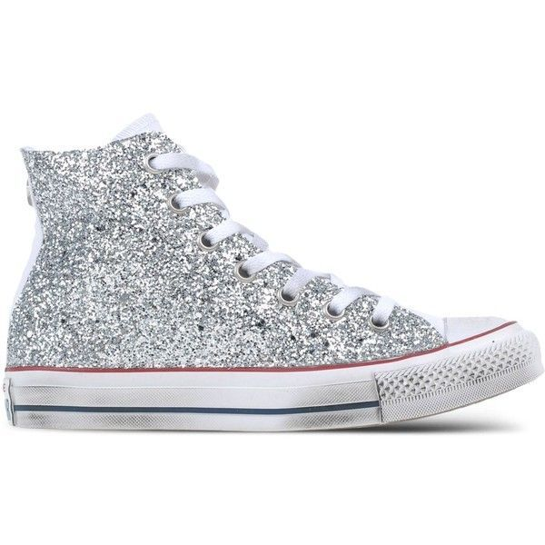 Converse Limited Edition High-Top Sneakers ($225) ❤ liked on Polyvore featuring shoes, sneakers, silver, glitter flat shoes, hi tops, converse shoes, converse high tops and flat sneakers