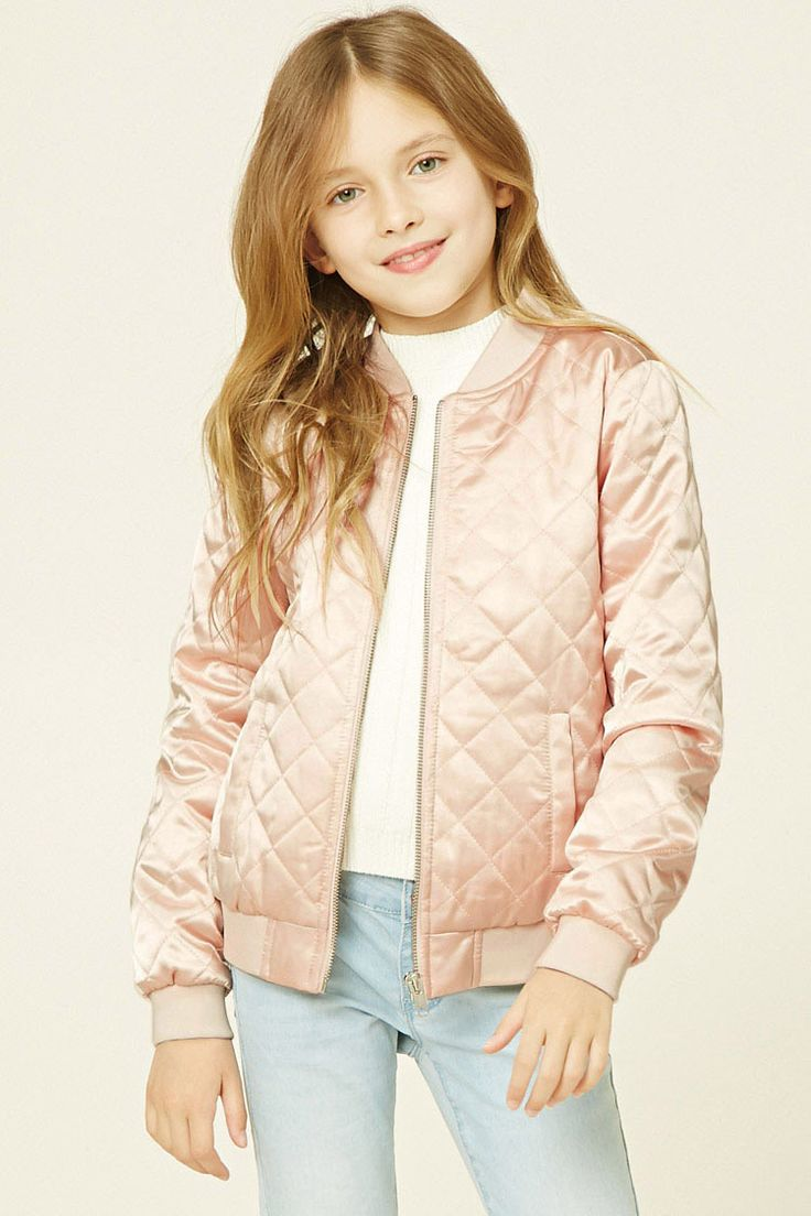 Forever 21 Girls - A satin quilted bomber jacket featuring a zip-up front, ribbed trim, two front slit pockets, and long sleeves.