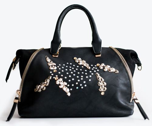 Black Rock, black handbag handmade decorated with metal stones. Must have for the ss2014! Adadi Accessories