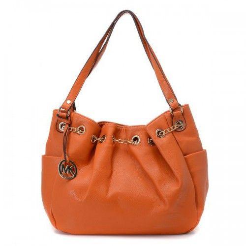 Michael Kors Chain Ring Large Orange Shoulder Bags