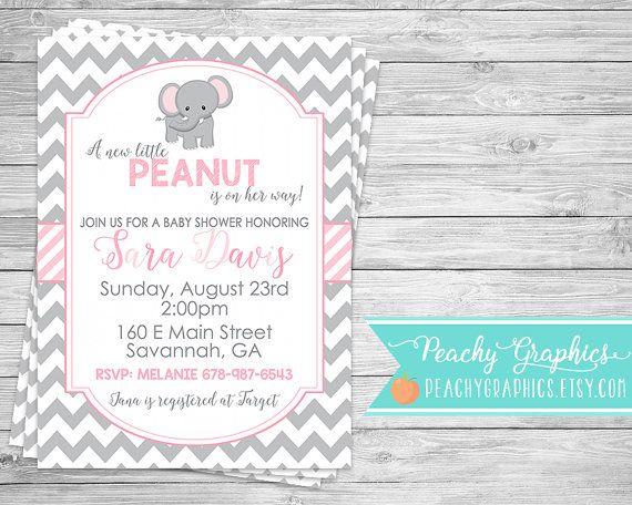 Printable Elephant Baby Shower Invitation  by PeachyGraphics …