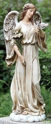 """24.5"""" Joseph's Studio Angel with Dove and Lily Flowers Outdoor Garden Statue by Roman. $114.99. From the Garden Figures and Decor Collection by Joseph's StudioItem #63653Tranquil angel statue has a dove perched on her left hand and holds lily flowers in her other handMeticulously crafted by master artisans, with great attention to color and detail For indoor/outdoor useFree standingDimensions: 24.5""""H x 9""""W x 9""""DMaterial(s): resin/stone mix"""