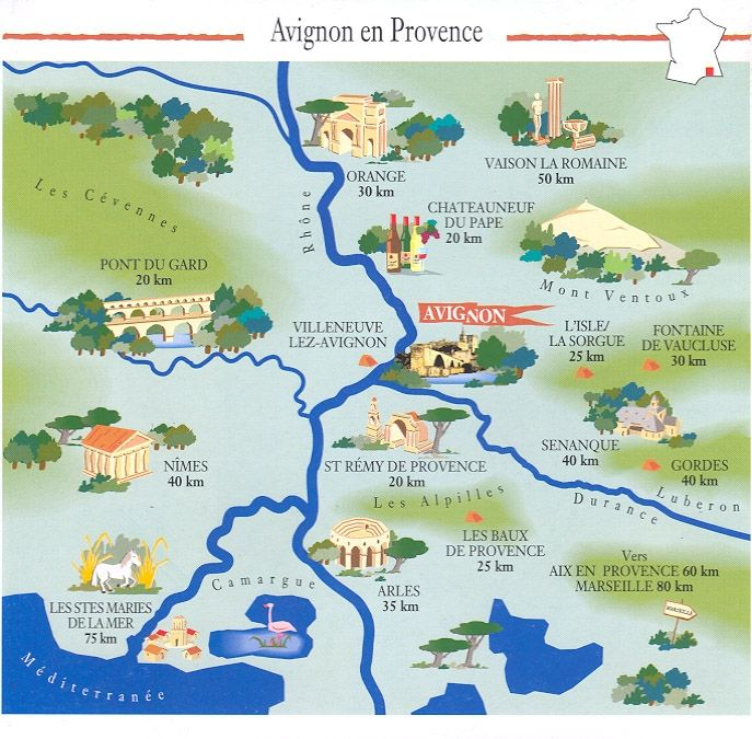 Map of Area around Avignon.  Repinned by www.mygrowingtraditions.com