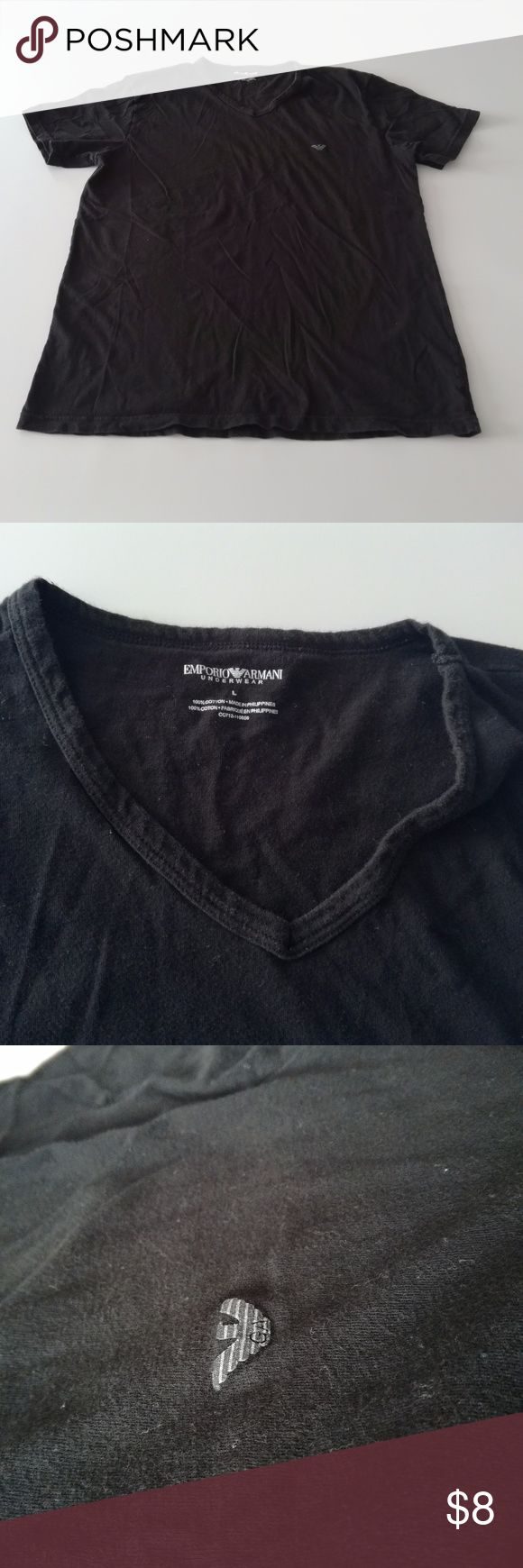 "Emporio Armani Black Undershirt L 2 WORN Emporio Armani Black Undershirt  L Certain pilling, and side label is a bit faded No holes or damage  Measurements laying flat Pit to pit: 20"" Full length: 26"" Emporio Armani Underwear & Socks Undershirts"
