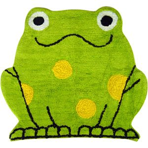 My frog rug for my frog bathroom... I have coordinating green towels and yellow towels.  Now need decor to finish it off... any suggestions?