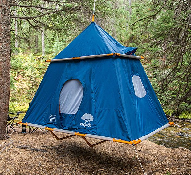 """TreePod Camper -- Lots of times there's just nowhere truly flat to pitch your tent—roots, rocks, all sorts of lumpy stuff between you & a good night's sleep. With the TreePod Camper, no worries. It's a suspended tent that hangs from the trees. It can support up to 500 pounds and hangs from a single centerpoint. Blending a ground tent with a hammock, it features a taut sleeping surface that's 87"""" long by 57"""" wide. It is waterproof and has windows with mesh ventilation. Available April 1. $570"""