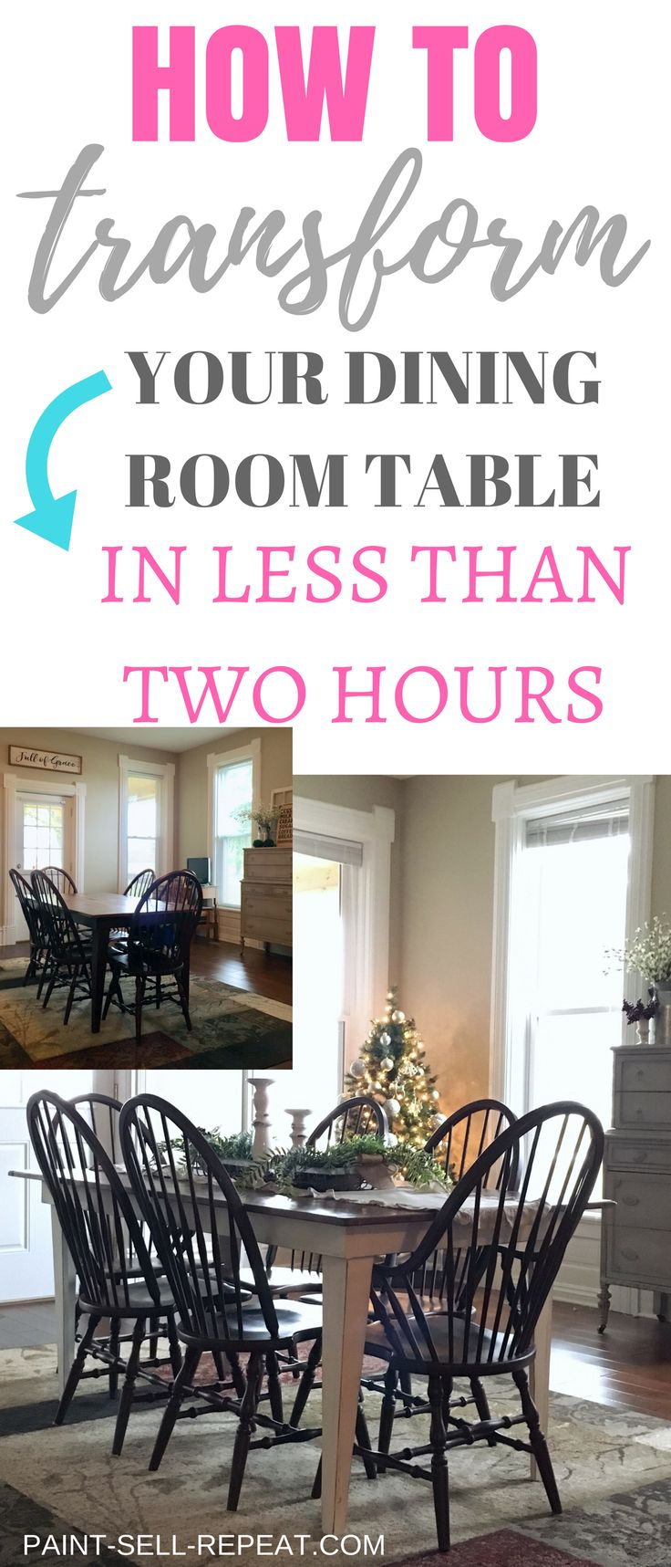 How to transform your dining room table with Annie Sloan Chalk paint! This makeo...