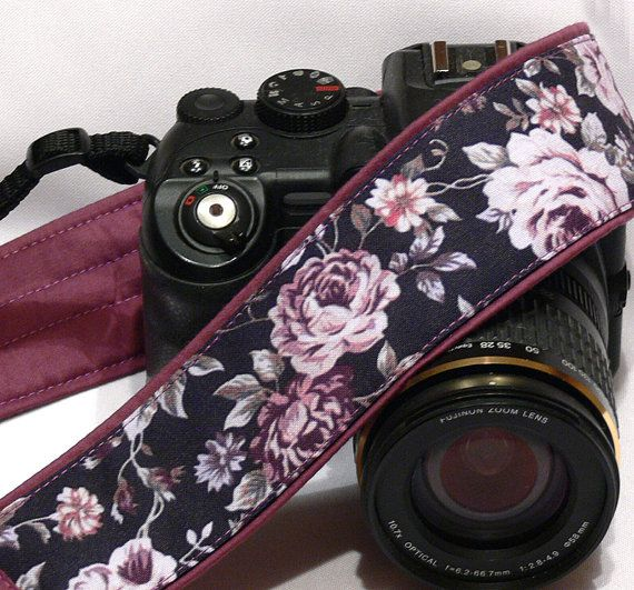 would ask seller to add a lens cap pocket to one of the strap ends.  Purple Roses Camera Strap. Canon Nikon Camera by LiVeCameraStraps