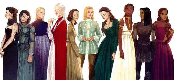 The women from the Throne of Glass series From left to right: Kaltain, Sorrel, Asterin, Manon, Elide, Aelin, Lysandra, Nehemia, Nesryn and Sorscha