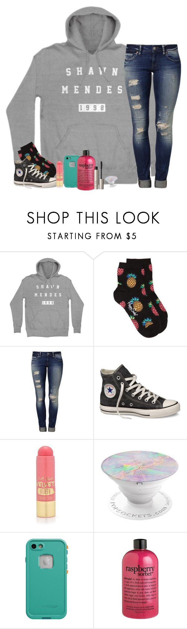 """""""Sincerely, Mrs. Mendes"""" by southernstruttin ❤ liked on Polyvore featuring Happy Socks, Mavi, Converse, L.A. Girl, LifeProof, philosophy and Ilia"""
