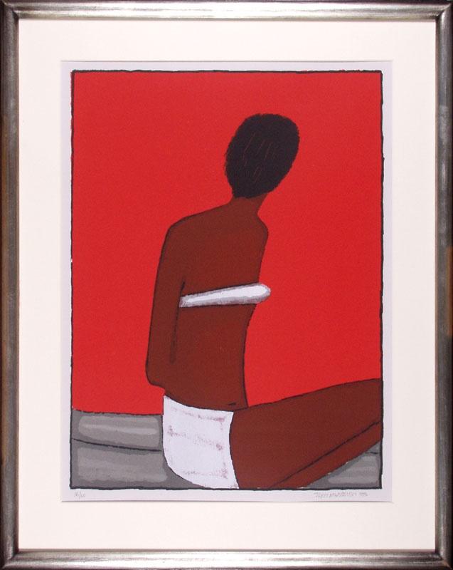 Jerzy Nowosielski, Kobieta na czerwonym tle, 1999, serigraph/paper