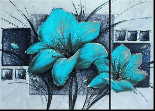 NEW-2PCS-CANVAS-PRINT-WALL-ART-BLUE-FLOWER-ABSTRCT-70x50cm-Ready-to-hang