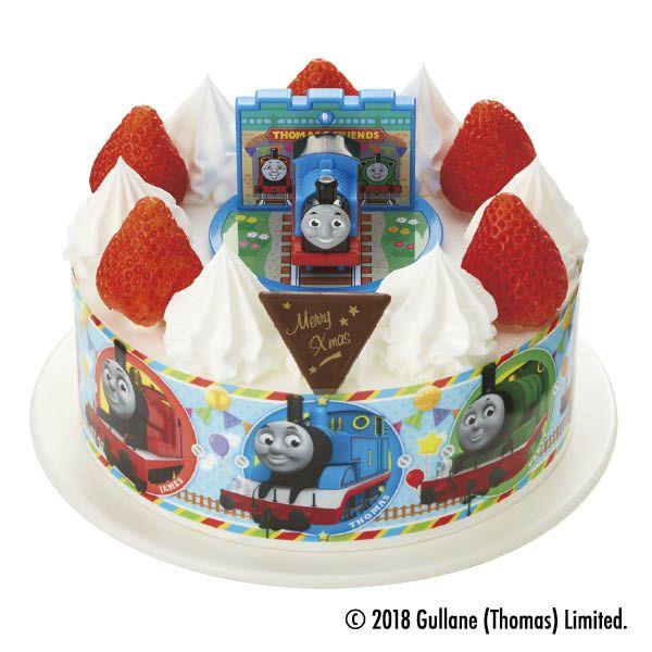 キャラデコ きかんしゃトーマス ピーチとパインを サンドしたケーキです クリスマスパーティーメニュー クリスマスケーキ ケーキ