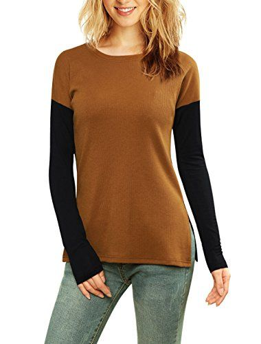 Allegra K Women Color Block Paneled Ribbed Top Brown S ** For more information, visit