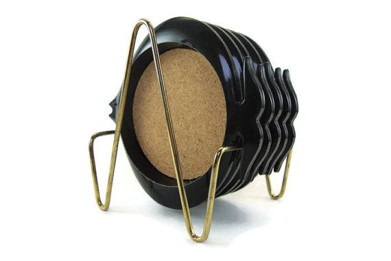 Vintage MidCentury Coaster Set  Black Fish  by NannysHouseVintage, $17.00