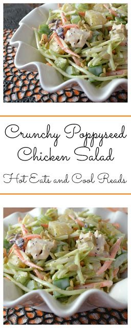 The perfect side for a picnic or BBQ! Also a great lunch! Crunchy Poppyseed Chicken Salad Recipe from Hot Eats and Cool Reads