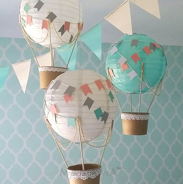 Whimsical Hot Air Balloon Decoration DIY kit - nursery decor - travel theme nursery - GREY, MINT & white - set of 3 by mamamaonline on Etsy https://www.etsy.com/listing/264622620/whimsical-hot-air-balloon-decoration-diy