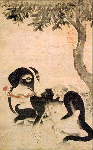Yi Ahm (1499-?), Mother Dog, 15th century, National Museum of Korea.