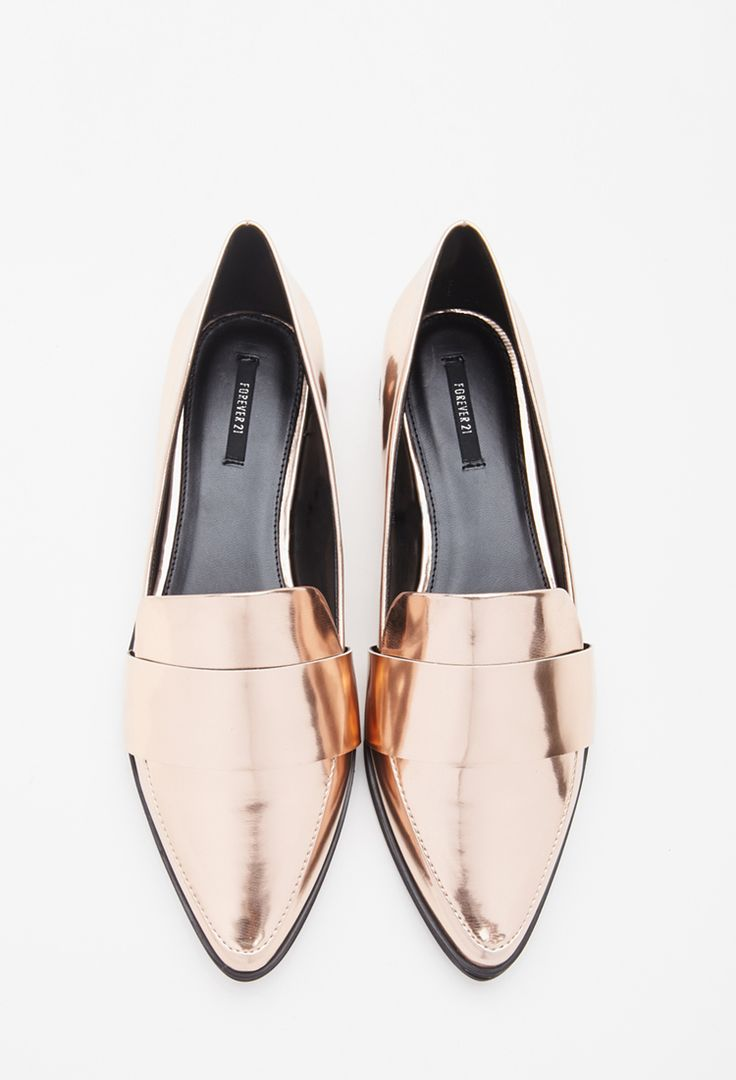 The Best Trendy Loafers for Women - Faux leather gold pointed loafers; $24.90 at forever21.com
