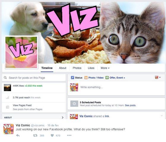 """""""Apenas trabalhando no nosso novo perfil do Facebook. O que você acha? Ainda muito ofensivo?"""" (Foto: Divulgação/Twitter)"""