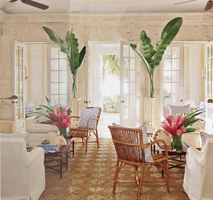 Quadrille, China Seas, Alan Campbell, Home Couture.  Love towering palms, sea grass rug, great beachy chairs!
