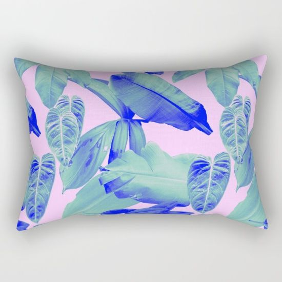 TROPICAL LEAVES Rectangular Pillow by Rhianna Ellington I #society6 #RhiannaEllington #homedecor #pillow