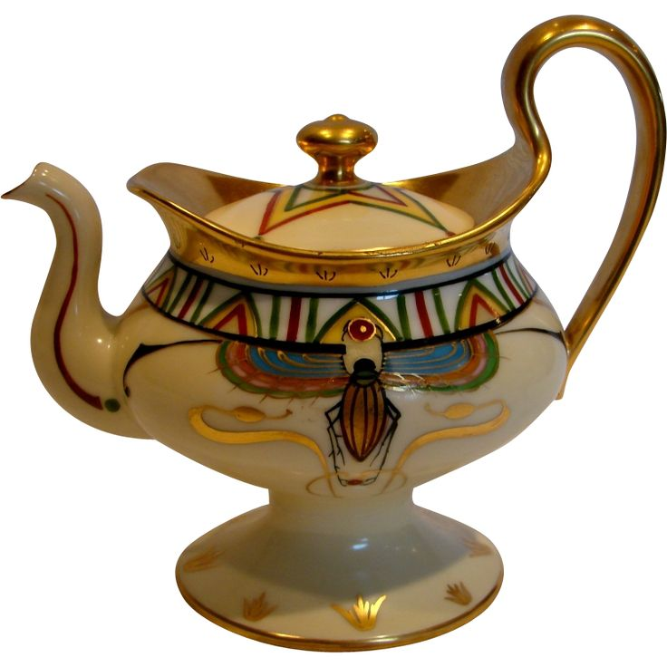 French Limoges Footed Pedestal Demitasse Teapot Hand Painted Beetles Insects c 1892 - 1907