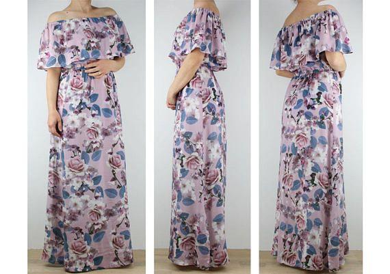 Womens dress Off shoulder dress Women floral maxi dress