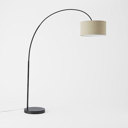 Cfl Overarching Floor Lamp, Antique Bronze/Natural Linen