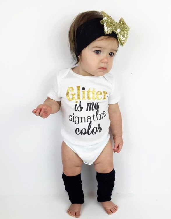 Glitter Is My Signature Color™ Cute Girl Clothes, Glitter Baby Shower, Gift, Toddler Girl Clothes, Girl TShirts, Gold Sparkle, © Liv & Co.™ by LivAndCompanyShop on Etsy