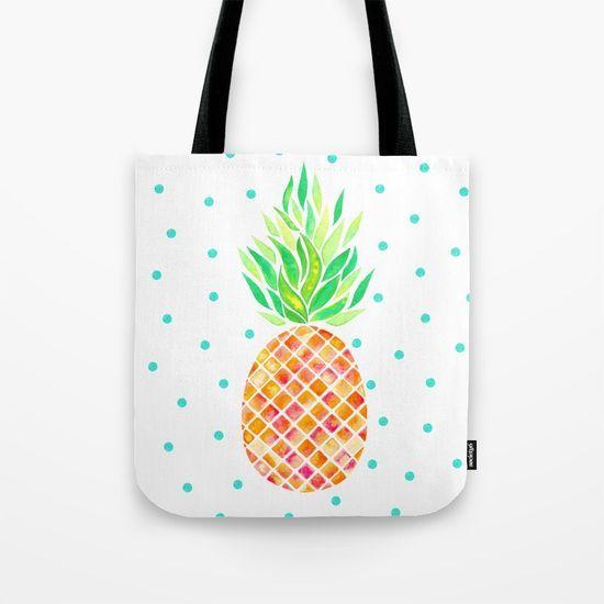Tangerine Pineapple Tote Bag Watercolor Pineapple art design. Tangerine color. Tropical design #watercolor #pineapple #orange #tropical #botanical #polkadots ##art #design #pattern #fun #bag #fashion #beachbag