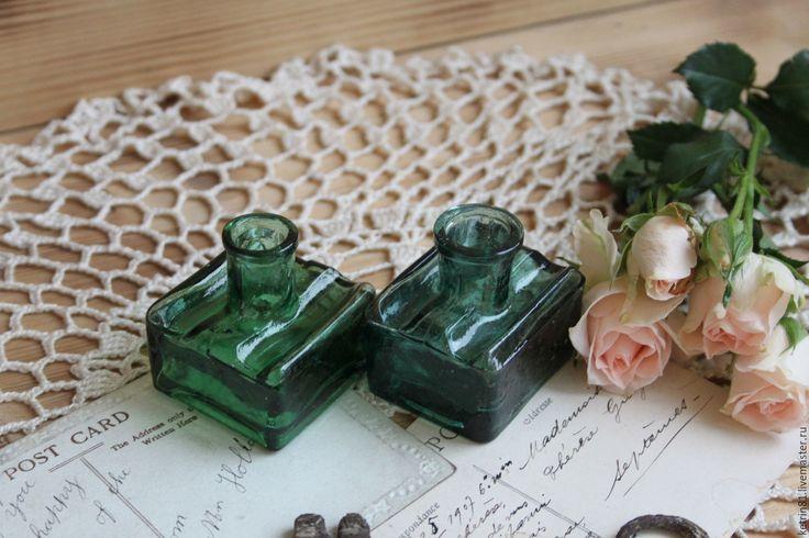 Купить Антикварные чернильницы (Германия) №54 - тёмно-зелёный, изумрудный, антиквариат, антикварный, антикварное стекло