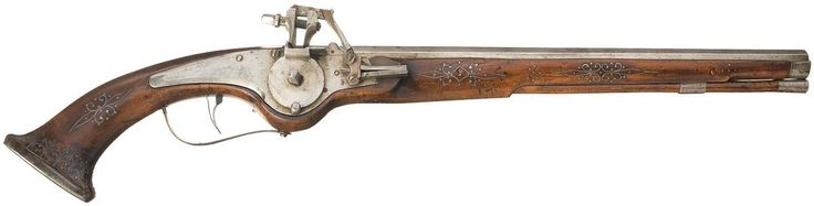 Unidentified Wheellock Pistol with Attractive Wire Stock Inlay