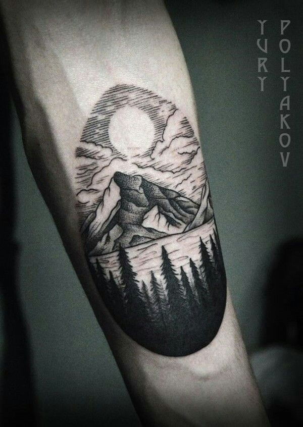 Mountain lake, tree silouhets tattoo