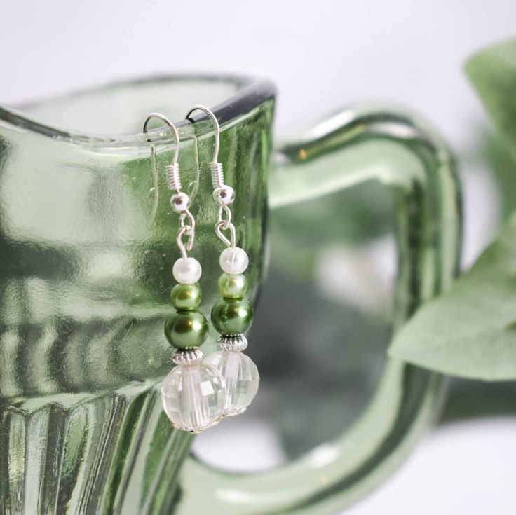 Woodland Green and Crystal Effect Drop Pearl Earrings Bride Bridesmaid Prom by BouquetsByLouise on Etsy