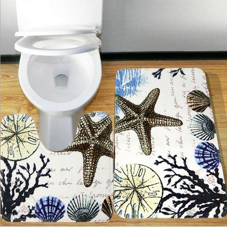 2 шт. Растения Оболочек Star Fish Тип нескользящая Туалет Коврики Для Ванной дверной Коврик в Ванной на Полу Ковер Коврик Комплект Матрасы Для Ванной Комнаты декор