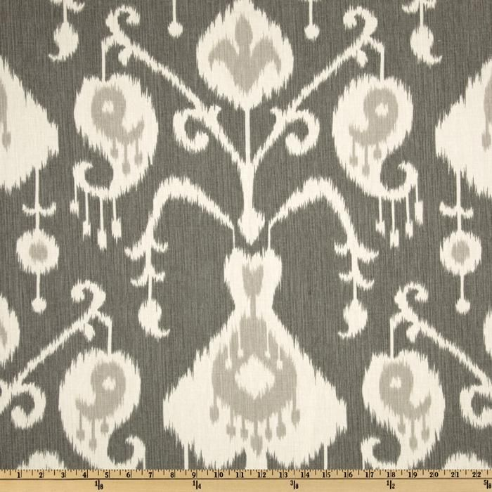 Magnolia Home Fashions Java Ikat Pewter from @fabricdotcom  Screen printed on cotton duck; this medium weight fabric is very versatile. This fabric is perfect for window treatments (draperies, valances, curtains, and swags), bed skirts, duvet covers, pillow shams, accent pillows, tote bags, aprons, slipcovers and upholstery. Colors include pale grey and ivory on a charcoal grey background.