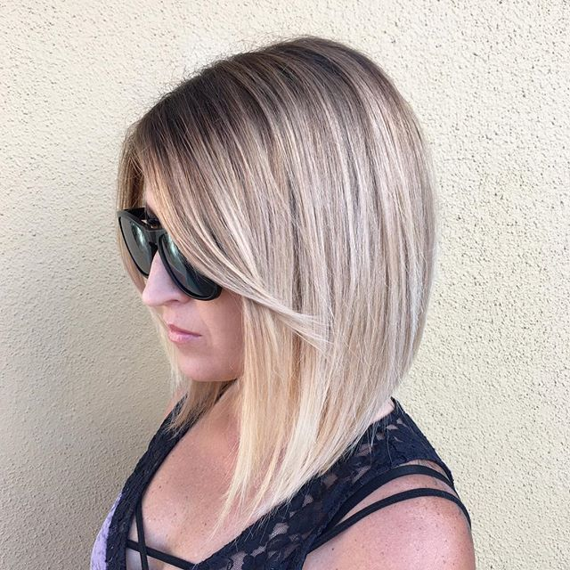 Dimensional blonde and angled bob on my gorgeous sister @lordofthemoms today! Balayaged the whole head first, then toned  with #shadeseq three different times with a root shadow to get my perfect neutral blonde, patience is key!!#balayage #blonde #redken5thave #olaplex #lasvegashairstylist #modernsalon #aline #hairnerd #hairbrained #americansalon
