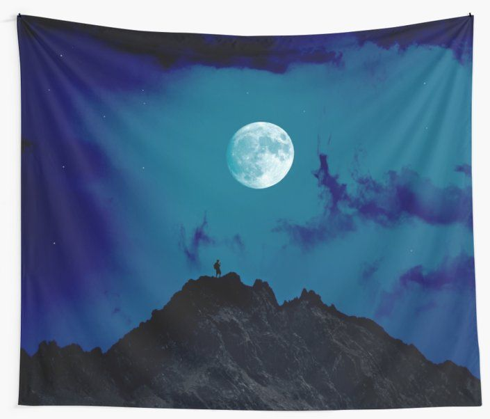 Climber standing on a mountain top with a bright moon above • Also buy this artwork on home decor, apparel, stickers, and more.
