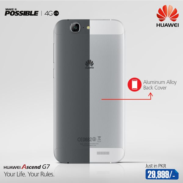 An all-metal back provides a premium feel in the hand and the unique flowing curves and ultra-slim body give the design elegance, balance, and strength. #YourLifeYourRules #4GLTE #HuaweiPakistan Tell us in which color you like #AscendG7 the most?  Silver, Gray, Gold  For more details visit: www.huawei.com/pk www.instagram.com/huaweipakistan www.facebook.com/huaweipakistan