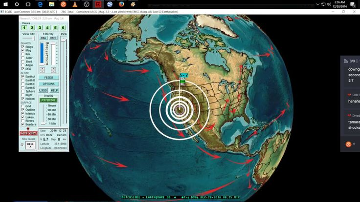 12/28/2016 -- Large California - Nevada M5.7 + M6.0 earthquakes -- Struck at base of volcanoes...swarms of eq globally to many to count. Check out the youtube reports for the next 7 days.