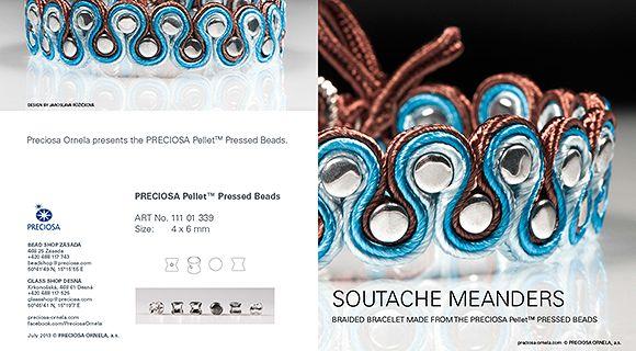 A soutache bracelet made from PRECIOSA Pellet™ seed beads