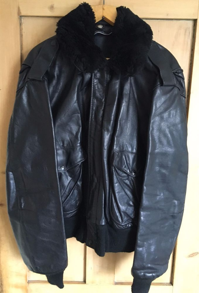 SCHOTT NYC: A-2 Naked Cowhide Black Leather Flight Jacket Size 50 LARGE #SCHOTT #BomberHarrington