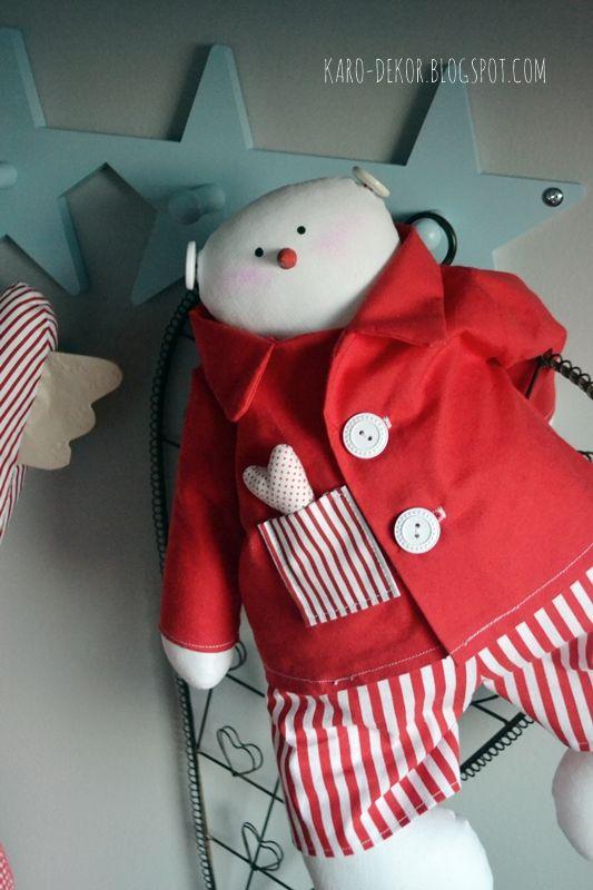 Christmas snowman with red pajamas