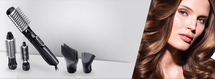 Lokówko - suszarka Amaze. Loki, fale, włosy wyprostowane lub o sprężystej objętości – to wszechstronne urządzenie potrafi wszystko. Używając pięciu różnych nasadek, łatwo osiągniesz każdą wymarzoną fryzurę.