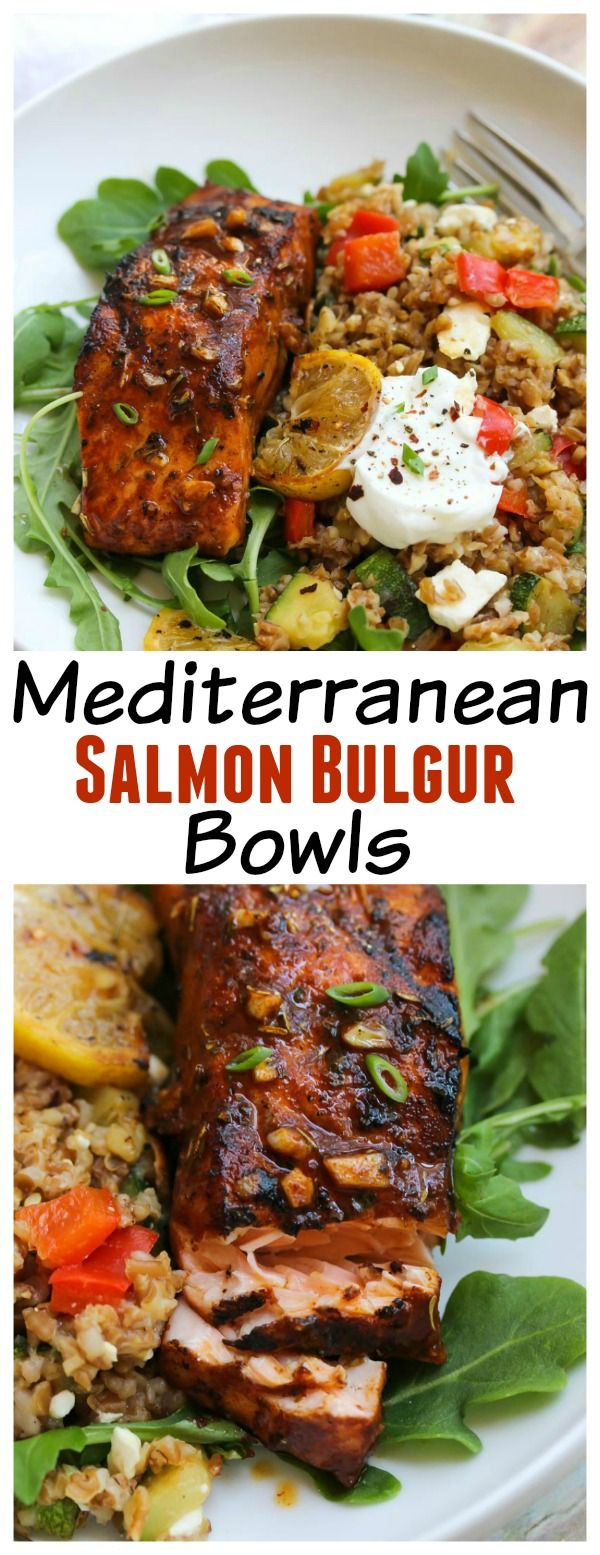 Healthy Mediterranean Salmon Bulgur Bowls | dishingouthealth.com