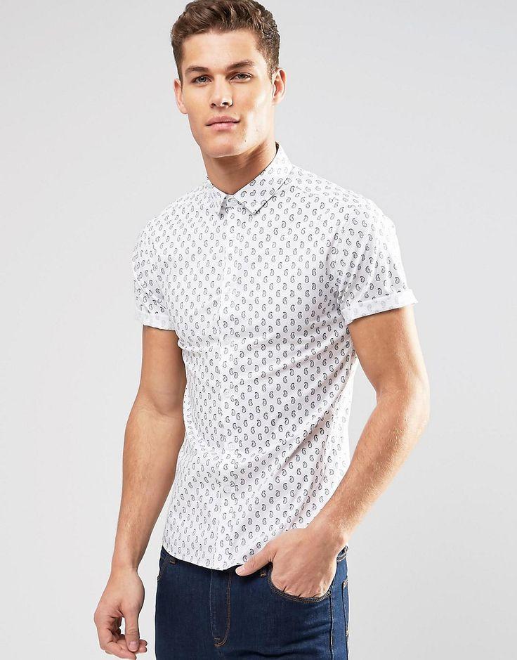 Bild 1 von ASOS – Eng geschnittenes, weißes Hemd mit Paisleymuster und kurzen Ärmeln