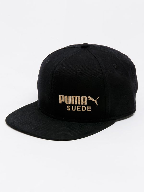 7514bbaaa31 PUMA Archive Suede 5 Panel Cap Black