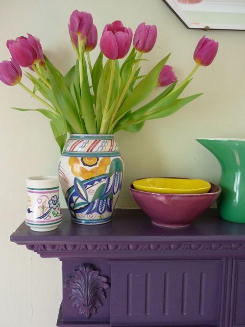.Purple Fireplaces, Beautiful Colors, Vases, Purple Furniture, Colors Combinations, Purple Tables, Fresh Flowers, Bowls, Laundry Room