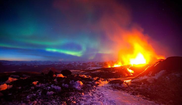 Erupting Volcano with Aurora Iceland...
